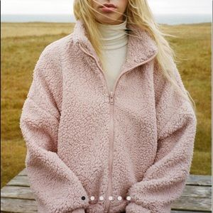 Urban outfitters pink sherpa jacket